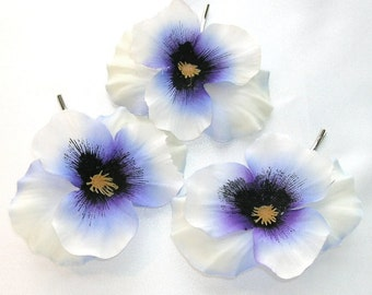 White and Blue Pansy Bobby Pin Trio