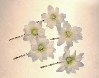 Blue Starflower (Polianthus) Hair Pins Set Of Five