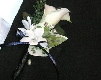 Calla Lily and Stephanotis Boutonniere With Rhinestone Accents