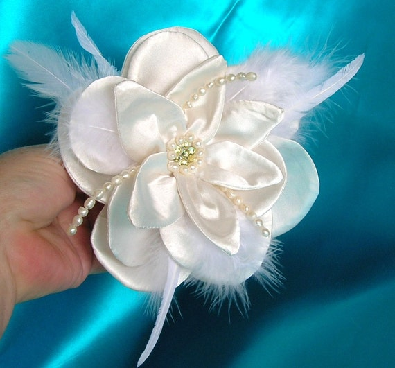 SAMPLE SALE, 40% OFF, Ivory Satin Bridal Hair Flower With Swarovski Crystals and Freshwater Pearls