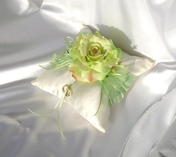 Ring Bearer Pillow in Ivory Satin - Celedon Dupioni Silk and Large Full Bloom Silk Rose