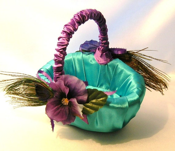 Peacock Wedding Peacocks and Pansies Flower Girl Basket