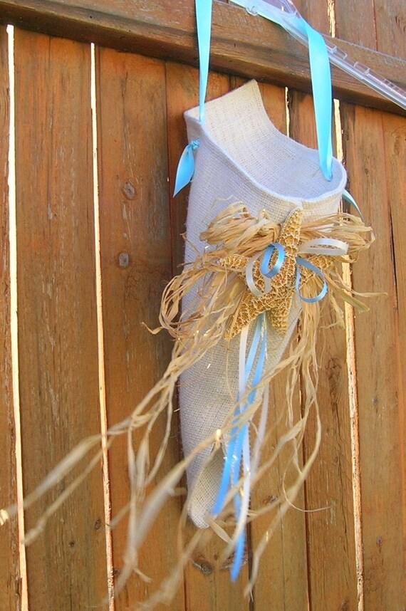 50% OFF, Last One, Wedding Flower Pew Cone, Decoration, Burlap With Seashells and Rafia