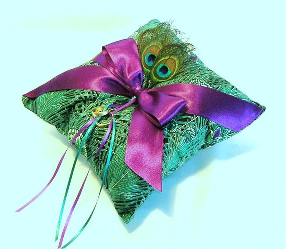 Peacock Theme Ring Bearer Pillow With Purple Satin Luxe Bow and Real Peacock Feathers