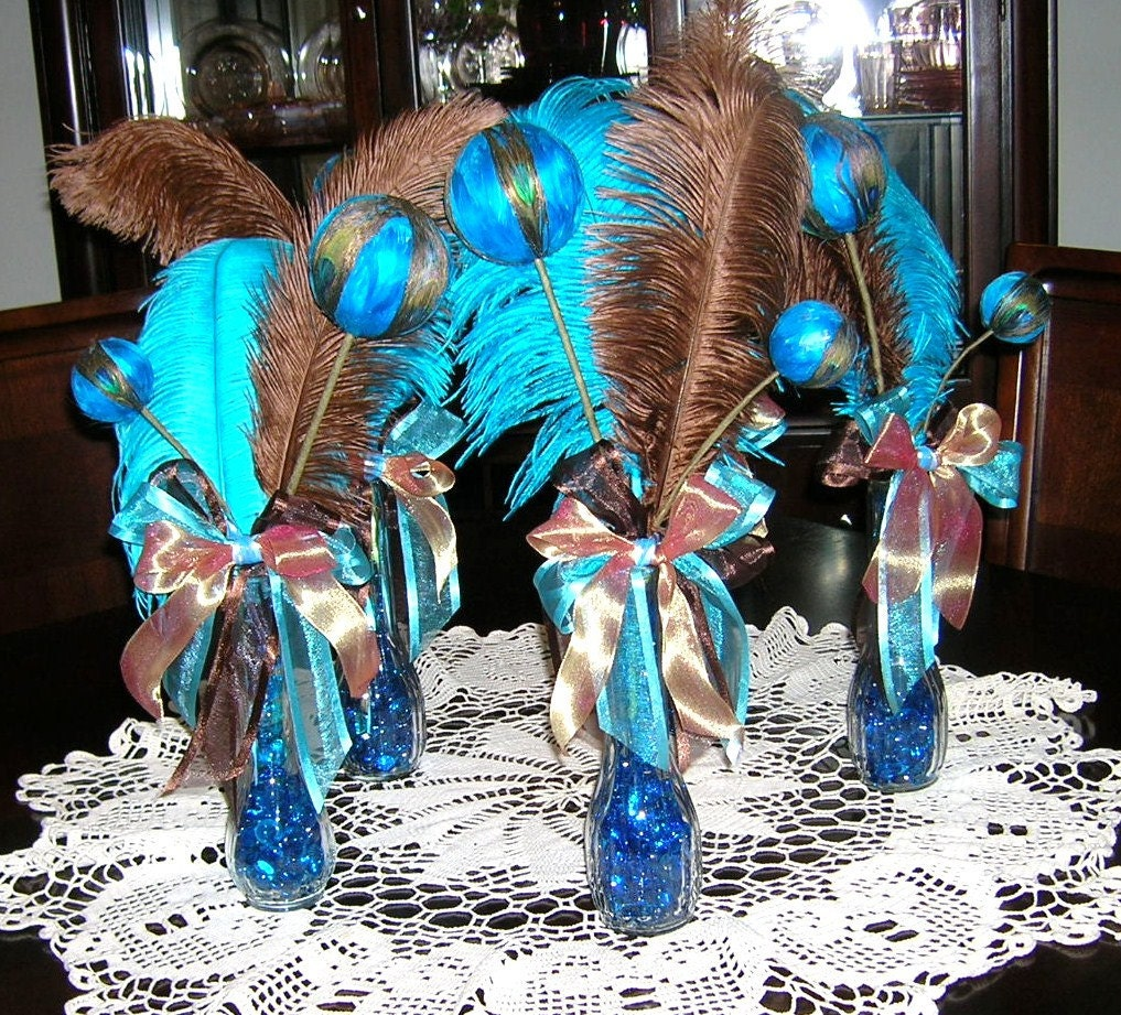 Peacock Wedding Centerpieces Ideas: Peacock Wedding Table Centerpiece Decoration