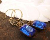 Sapphire Blue Earrings Estate Vintage Style Blue Glass Jewels