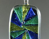 Dichroic Blue Yellow and Green Pendant