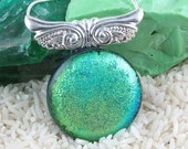 Green Aurora Borealis Pendant with Silver Wings Bail