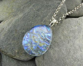 Mystical  Blue Ice Teardrop Pendant