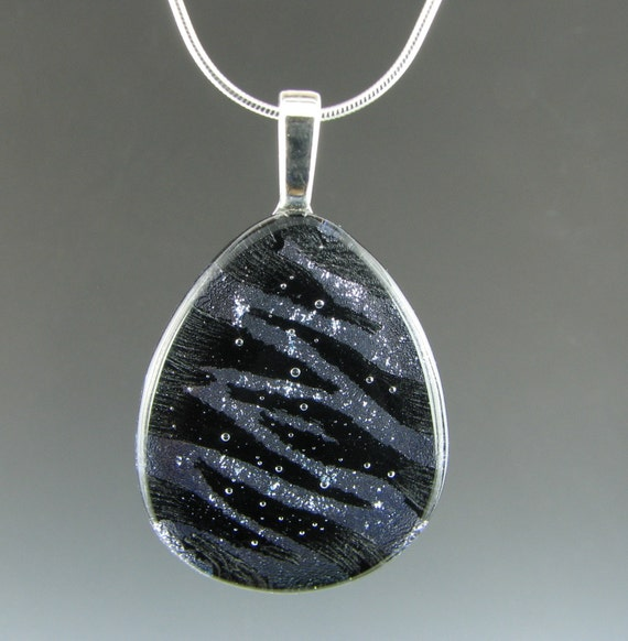 Dichroic Black and Silver Zebra Pendant