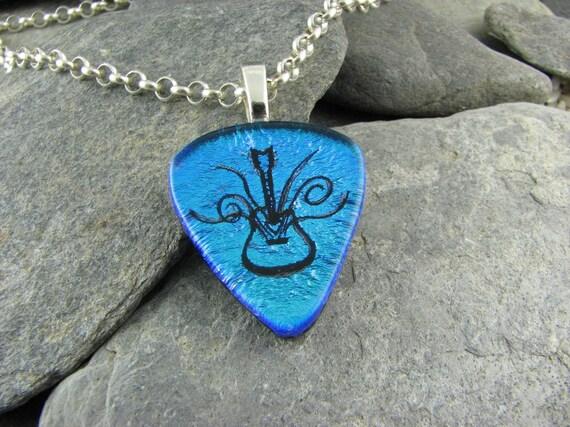 Dichroic Blue Pick-shaped Guitar Pendant
