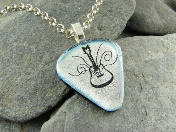 Silver Guitar Pick Inspired Pendant with Hand Etched Design