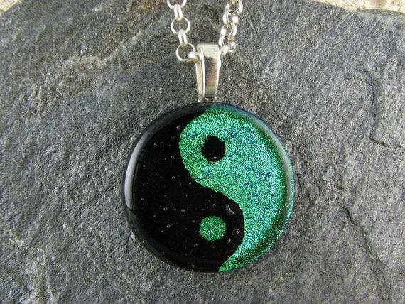 Dichroic Green Yin-Yang Pendant