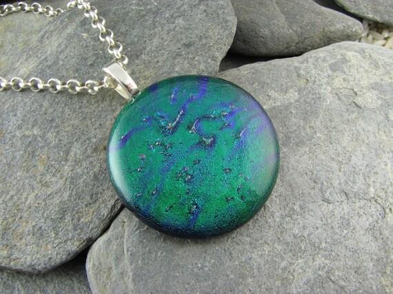 Dichroic Round Emerald Pendant