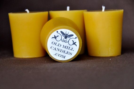 Set of 4 Beeswax Votive Candles - Flat Top