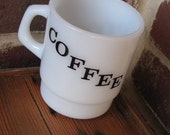 """Vintage Milk Glass Cup With """"COFFEE"""" Embossed On Both Sides"""