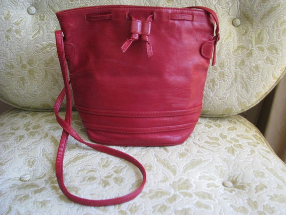 Vintage Drawstring Red/Maroon Leather Purse