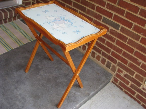 Vintage Foldable Wooden TV Tray