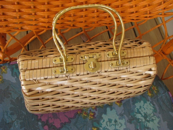 Vintage Straw Basket Weave Purse