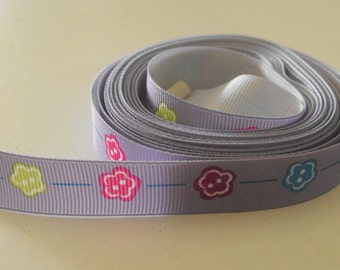 Lavender with Bright Flowers Grosgrain Ribbon 5 Yards