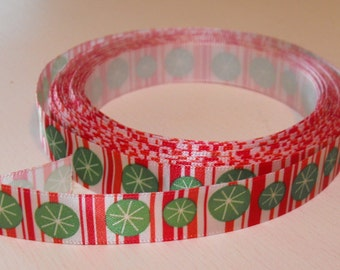 Christmas Candy Cane with Green Circles Ribbon 5 Yards