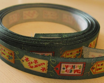 Green with Tags Ribbon 5 Yards