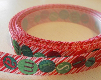 Red and White Candy Cane with Christmas Balls Ribbon 5 Yards