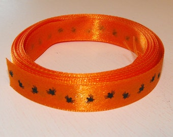 Orange with Black Spiders Ribbon 5 Yards