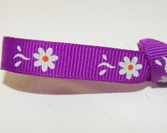 Purple with White Flowers Grosgrain Ribbon 5 Yards