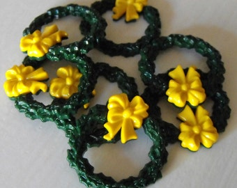 """7 Yellow Bow Wreath Flat Back Buttons Size 1 1/4"""""""