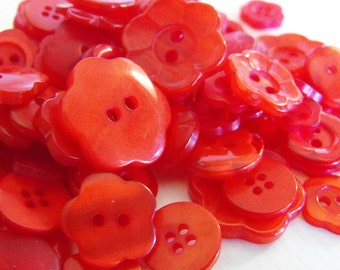 100 Red Fire Flower Buttons