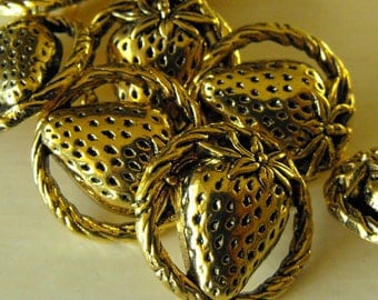 5 Gold Strawberries Shank Buttons Size 7/8""