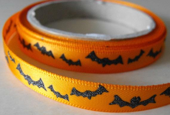 Orange with Shiny Black Bats Ribbon