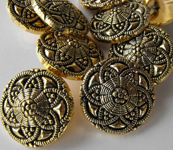 12 Gold Small Spiral Flower Shanked Buttons