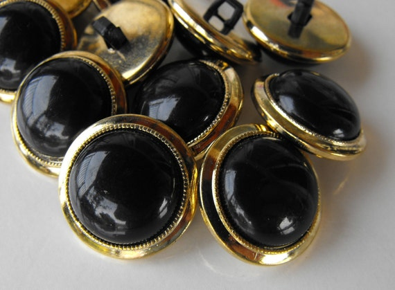 12 Gold with Black Bubble ShankedButtons
