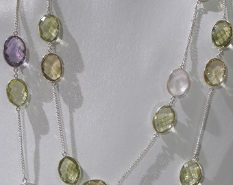 Sterling Silver Multi Stone Necklace