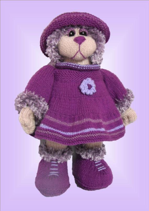 Violet Bear - a unique knitting pattern - PDF format