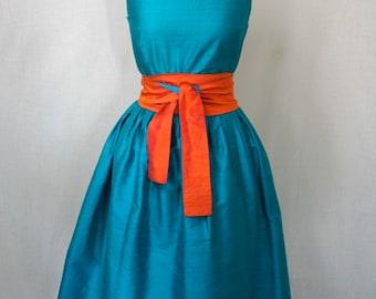 Turquoise Shantung Retro-style Dress