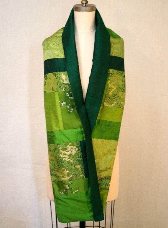 Green Silk Brocade and Shantung Patchwork Scarf