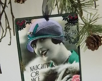 Set of Five Flapper Christmas Holiday Ornaments