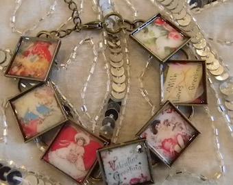 Victorian Look Valentine  Bracelet with Bezels