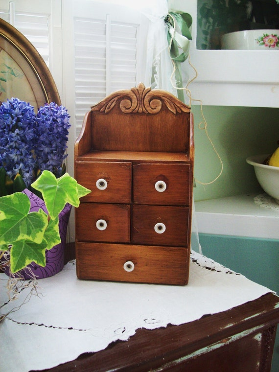 vintage wooden drawers cabinet spice antique hutch jewelry box cupboard