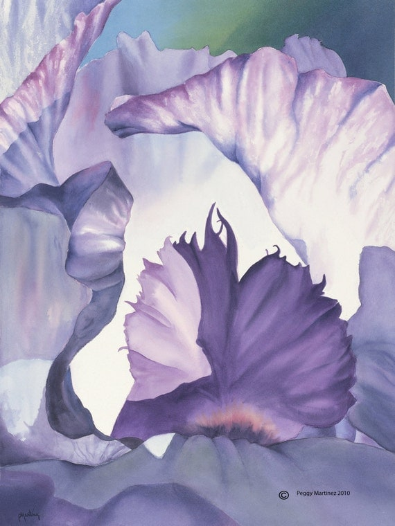 Watercolor Painting Purple Iris Modern 8x10 Giclee Print Abstract Watercolor georgia O'keefe Inspired by Peggy Martinez