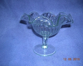 Beautiful Vintage footed candy dish with fluted edges