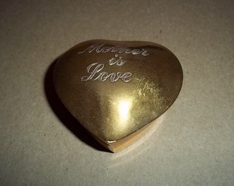 Vintage Brass Mother Is Love Trinket box in the shape of a heart - lined with black velvet - perfect for Valentines