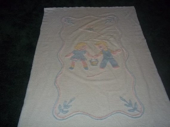 Beautiful Vintage Chenille Baby Blanket, with unusual boy and girl in pink and blue