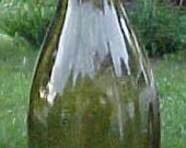 c1890 Yellow Olive Blown Glass Beer Bottle with an applied lip