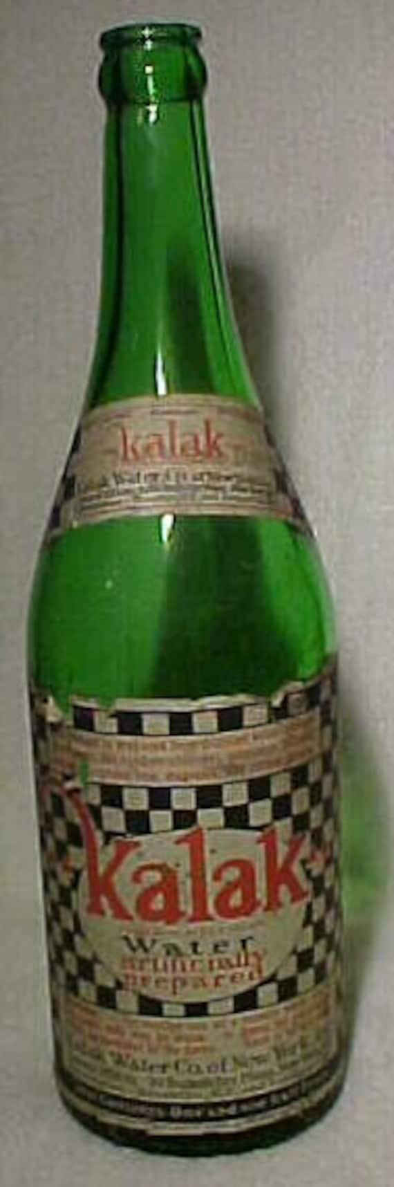 c1930 Kalak Water Kalak Water Co. of New York, Original Paper Labeled Soda Bottle