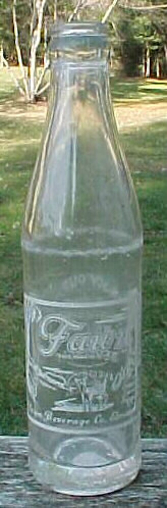 1957 Fawn Beverage Co. Elmira, N.Y. , Clear ACL Painted Label Crown Top Soda Bottle