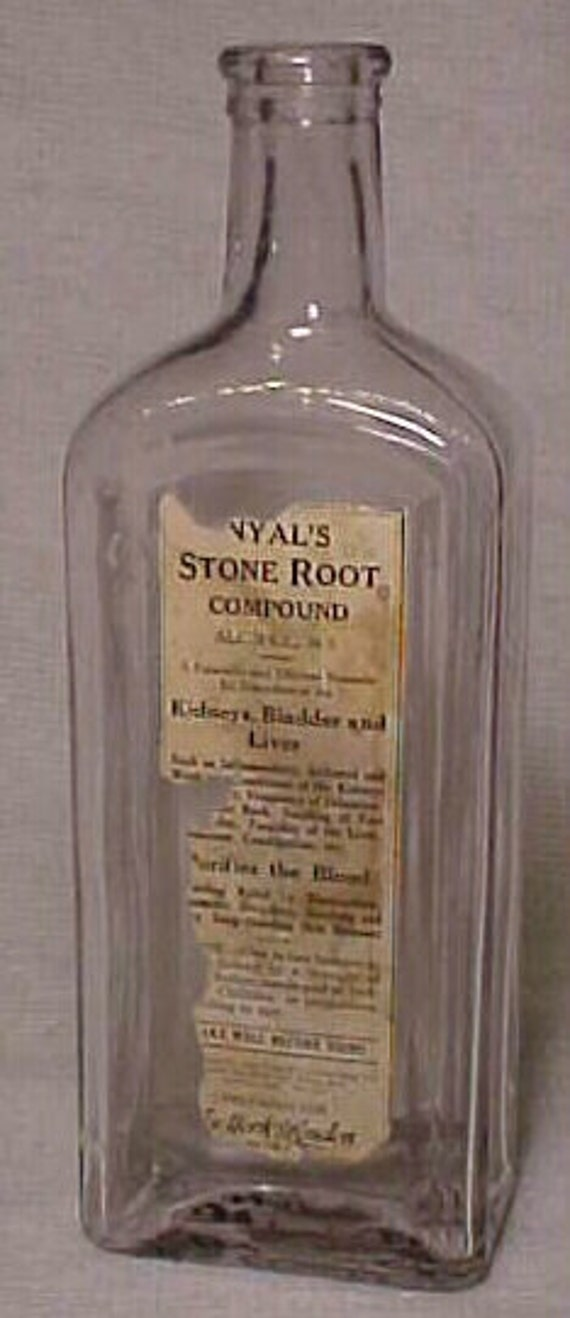 c1890 Nyal's Stone Root Compound Remedy for Kidneys, Bladder and Liver New York, Clear Glass Cork Top Medicine Bottle with paper label